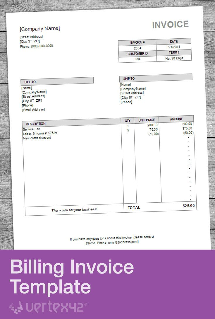 Download The Billing Invoice Template From Vertex42 Com Invoice Template Invoice Design Invoice Design Template