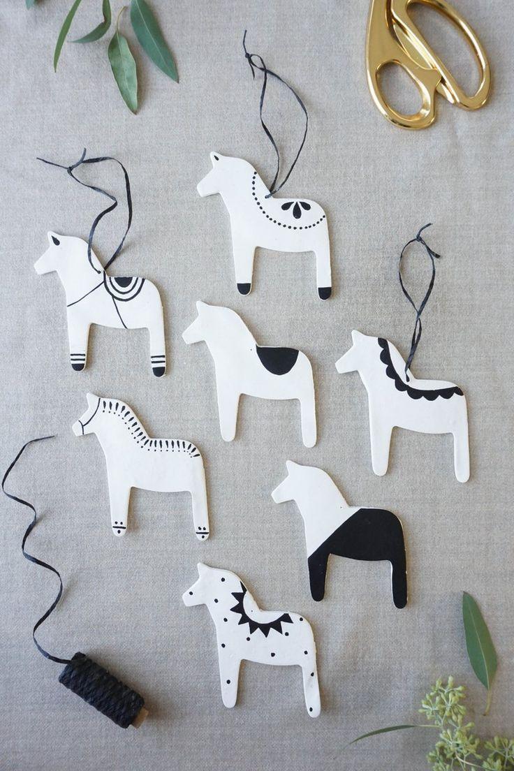 Scandinavian modern Dala horse ornaments