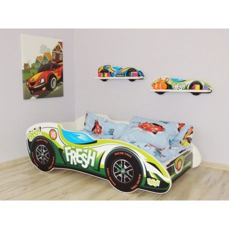 'Fresh number 10' racing car bed for toddlers - green and white - The Little Bedroom Company