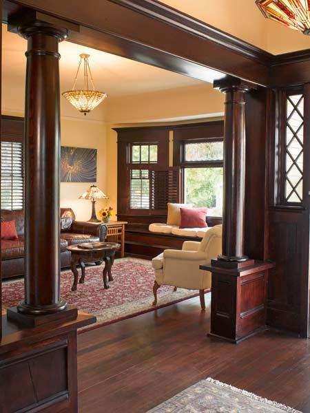 Original fir paneling and colonnades in a 1907 Craftsman bungalow – home owner: Jim Lewis – This Old House