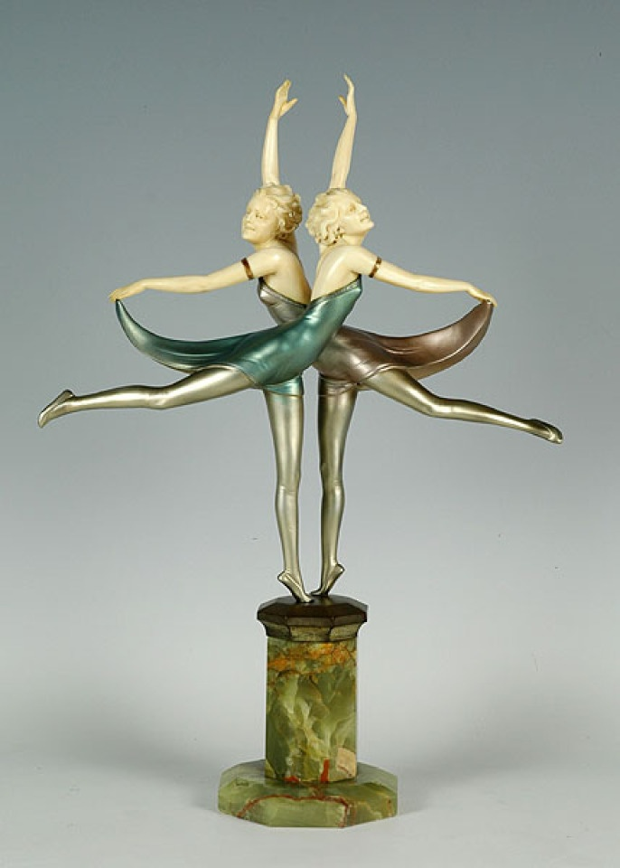 Art Deco period bronze and ivory dancers on a Brazilian green onyx plinth and signed Prof Otto Poertzel