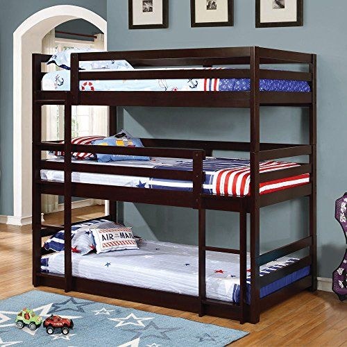 1PerfectChoice Youth Triple 3 Twin Bunk Bed Convert Multiple Beds Daybed Solid Wood Cappuccino – Lofts N Bunks
