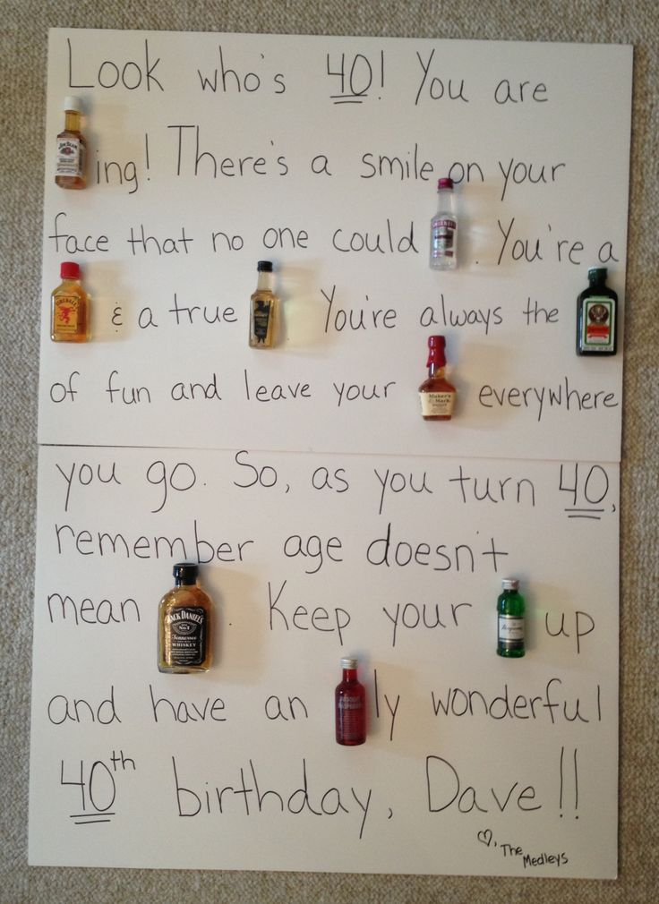 """40th birthday liquor poem. """"Look who's 40!! You are (Beam)ing! There's a smile no one can (Smirnoff). You're a (Fireball) & a true (American Honey). You're always the (Jagermeister) of fun & leave your (Mark) everywhere you go. So, as you turn 40, remember age doesn't mean (Jack). Keep your (Gin) up and have an (Absolut)ly wonderful 40th birthday!"""""""