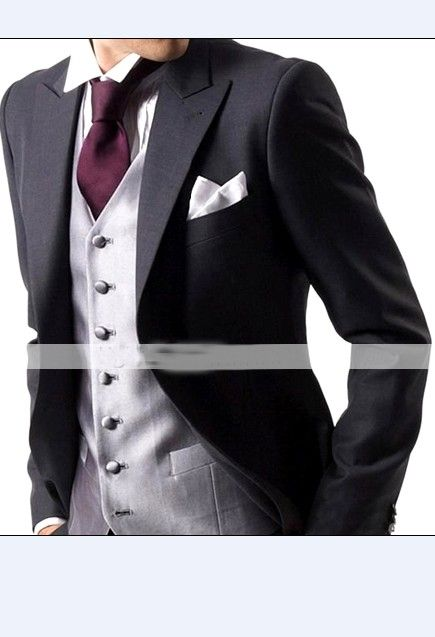 Buy Two-piece Groom Long Sleeve Suit Black with cheapest price|Clothing-Dropship.com
