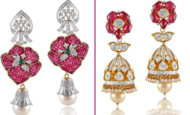 Rani Jodha Bai or Princess Catherine....  Diamond earings with polki; ruby, emerald and south sea pearl and Jhumki Polki earring with ruby and south sea pearl ...  Which is your style for the Day ?