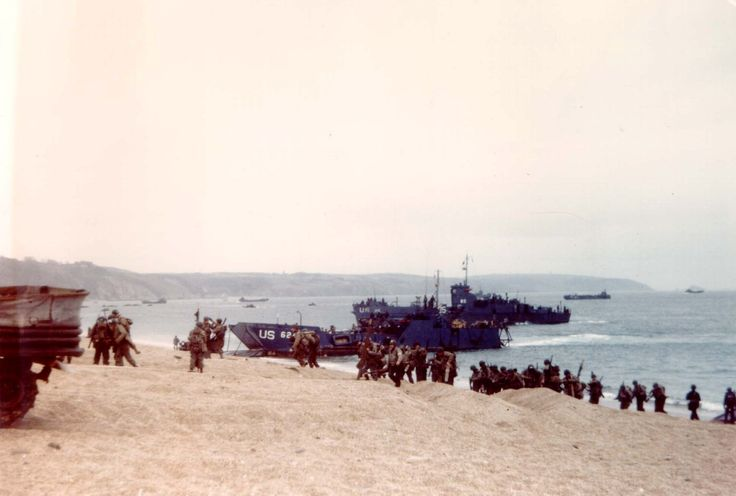 US forces rehearsing for the Normandy landings at Slapton Sands, Devon, England, UK, Apr-May 1944. Note the M4 Sherman Duplex-Drive tank at left.