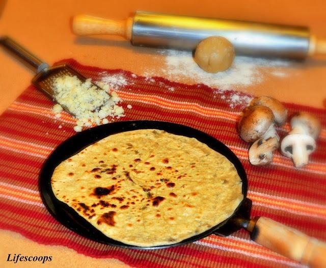 Cheesy Mushroom Paratha (Mushroom and Cheese stuffed Indian Flatbread)