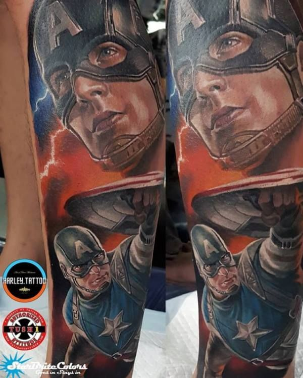 f36af6e35 Captain America color realism tattoo done by Tiamat Tattoo studio in Quezon  City, Philippines.