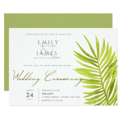 GREEN PALM LEAF WATERCOLOUR FOLIAGE WEDDING CARD - calligraphy gifts custom personalize diy create your own