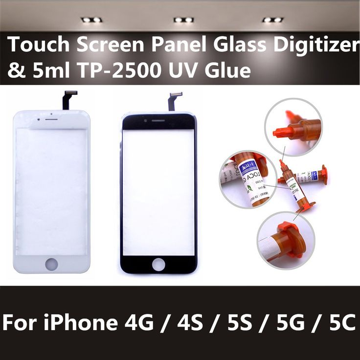 Nowy Ekran Dotykowy Panel Szklany Obiektyw Digitizer Wymiana Czujnika i 5 ml 4S 5S TP-2500 UV Klej Do iPhone 4G 5G 5C Darmowawysyłka