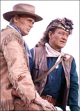 THE ALAMO (1960) - Richard Widmark & John Wayne - Produced & Directed by John Wayne - United Artists - Production Still.