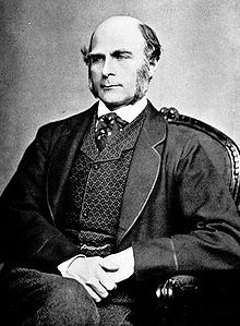 Sir Francis Galton, FRS cousin of Douglas Strutt Galton, cousin of Charles Darwin, was an English Victorian polymath: anthropologist, eugenicist, tropical explorer, geographer, inventor, meteorologist, proto-geneticist, psychometrician, and statistician. He was knighted in 1909