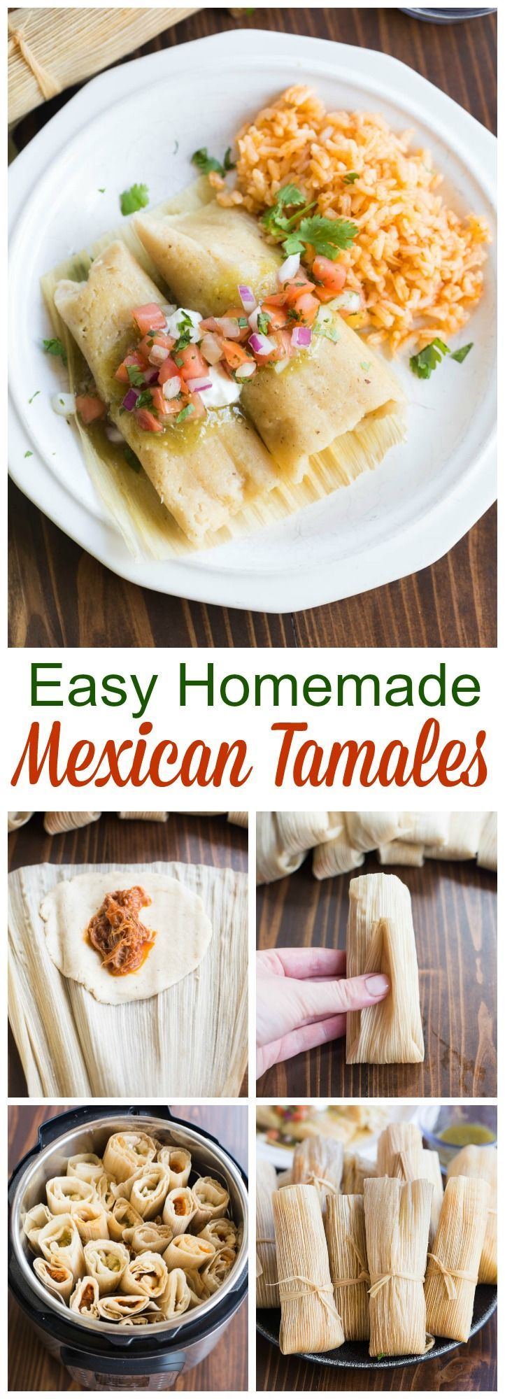 Recipe and instructions for Mexican tamales that you can steam or make in your instant pot. Pork and chicken tamales with red and green sauce. via @betrfromscratch
