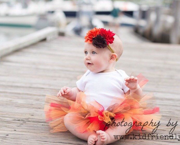 Little Girl Thanksgiving Tutu and Flower Headband - Fall Baby Tutu - Fall Photo Prop by TutuCaChu on Etsy