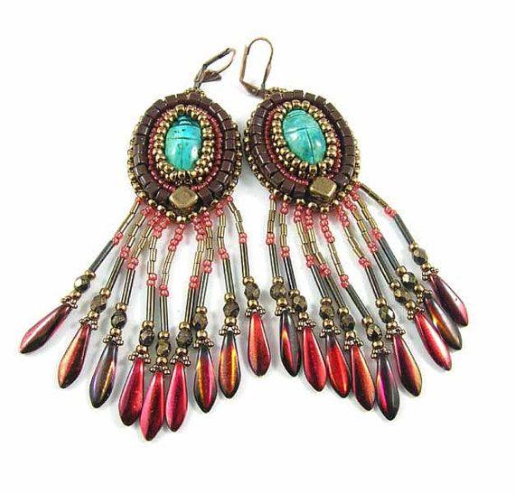 Scarabs long earrings bead embroidery  OOAK by Taurielscraft, $73.00