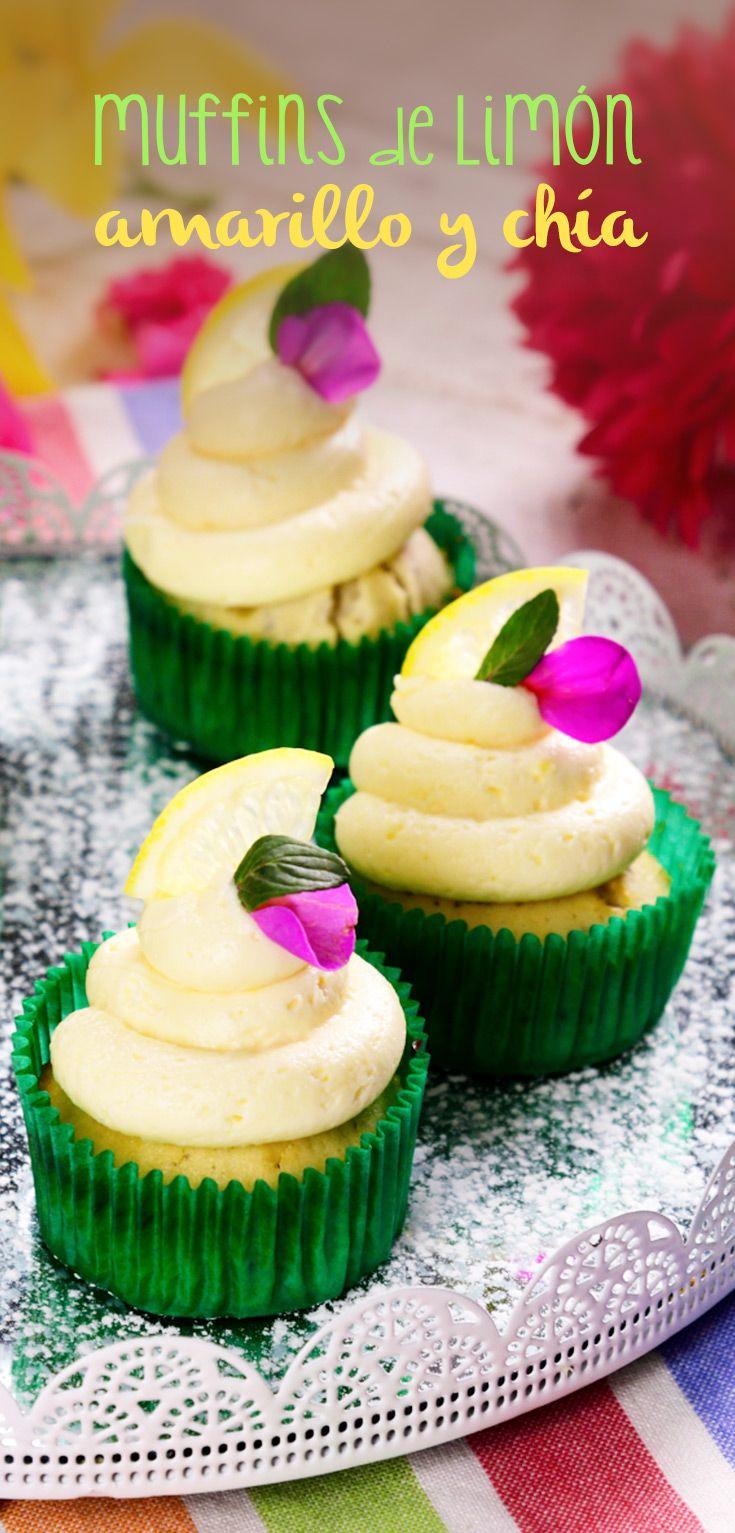 Muffins de Limón Amarillo y Chía   Estos esponjositos muffins de limón amarillo con chía te van a encantar, son ideales para consentirte con su cremoso betún y delicioso sabor a limón, se convertirán en tu postre favorito.
