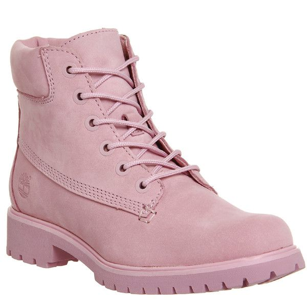 Timberland Slim Premium 6 Inch Boots ($185) ❤ liked on Polyvore featuring shoes, boots, ankle booties, ankle boots, pink nubuck, women, shootie shoes, pink shoes, nubuck leather shoes and bootie shoes
