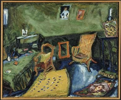 'Het atelier', 1910 / Marc Chagall (1887-1985) / Musée National d'Art Moderne, Centre Georges Pompidou, Parijs, Frankrijk.