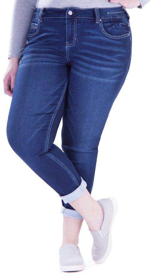 Amethyst Juniors' Plus Size Amethyst Cuffed Skinny Jeans