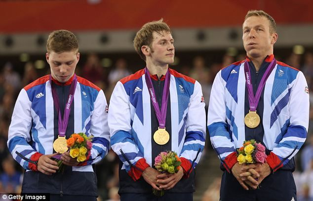Philip Hindes, Jason Kenny and Sir Chris Hoy win gold for #TeamGB! #Olympics