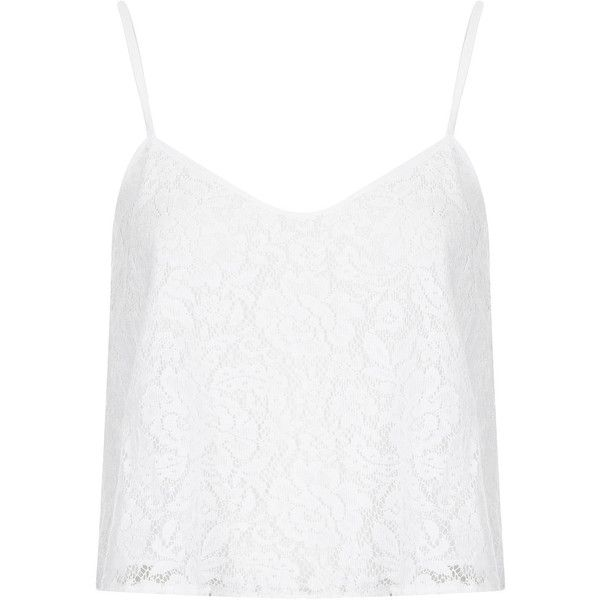 TOPSHOP Lace Crop Cami (1.020 UYU) ❤ liked on Polyvore featuring tops, topshop, shirts, crop tops, tank tops, white, cropped tank top, white lace shirt, white crop tank and spaghetti-strap tank tops