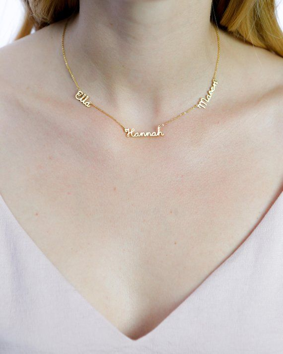 ddaa9f80901a3 Dainty Triple Name Necklace Children 3 Names Necklace | necklaces ...
