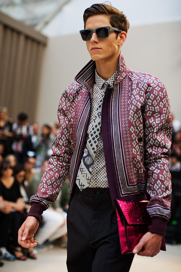 I like the mix of prints and colors.  He just looks so cool!  Burberry - Men's Spring/Summer 2013; Taken by The Sartorialist