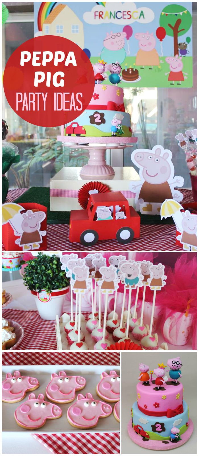 I'm loving this colorful Peppa Pig party!  It's filled with fun treats and decorations! See more party planning ideas at CatchMyParty.com!