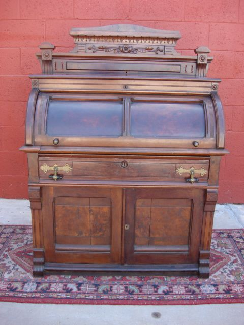 Antique Furniture American Antique Victorian Cylinder Desk Victorian Desk