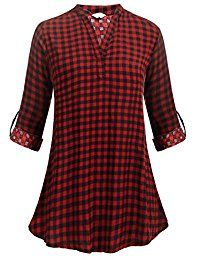 New Elesol Women's Casual Long Sleeve Tunic V-Neck Buffalo Plaid Shirts Pullover Top online. Find the perfect imimimomo Tops-Tees from top store. Sku BRZY83315YQCK31571