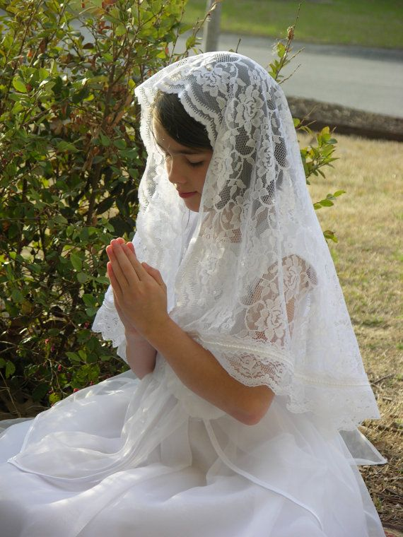 First Holy Communion Veil / Mantilla with White by RobinNestLane, $40.00