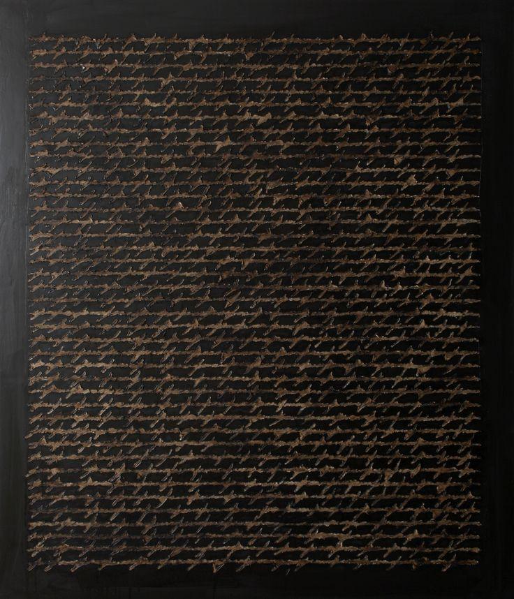 """""""Lettera notturna"""" (Acrilico e bitume su tela) - - A. Rapetti, """"Oltre la parola dipinta"""" 19 luglio-15 settembre 2013, Spazio Oberdan, Milano. http://www.provincia.milano.it/cultura/manifestazioni/oberdan/oltre_la_parola_Rapetti_mogol/index.html"""
