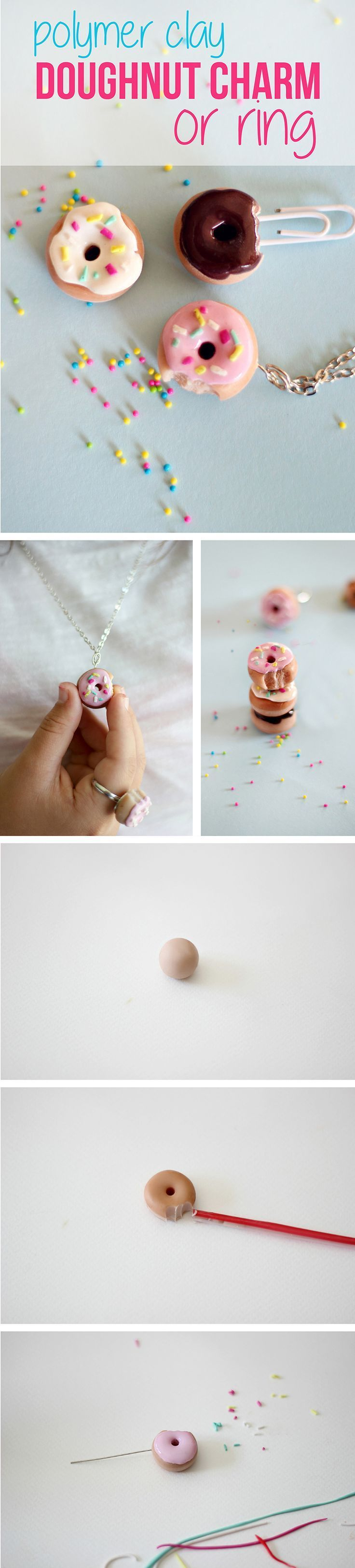 Miniature doughnuts are the cutest accessory we've ever seen! AND you can make this yourself? We're in cutesy crafting heaven with this one. How to make these adorable charms for necklaces or rings with polymer clay: www.ehow.com/...