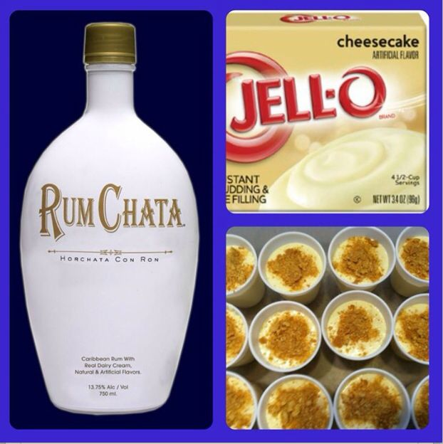 RumChata Cheesecake Pudding Shots- 1 small package of Instant Cheesecake Pudding, 3/4 cup milk, 3/4 cup RumChata, 8oz Cool Whip. Whisk together milk, RumChata, pudding mix in a bowl. Add Cool Whip a little at a time with whisk. Spoon mixture into cups. Garnish with graham crackers. Freeze for 2 hours. I added vodka.