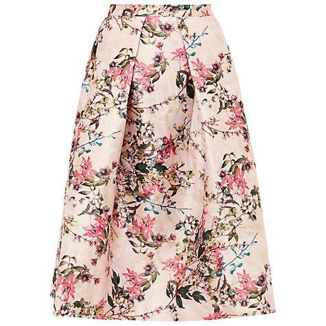 Buy Ted Baker Jirily Blossom Jacquard Midi Skirt, Mid Pink Online at johnlewis.com