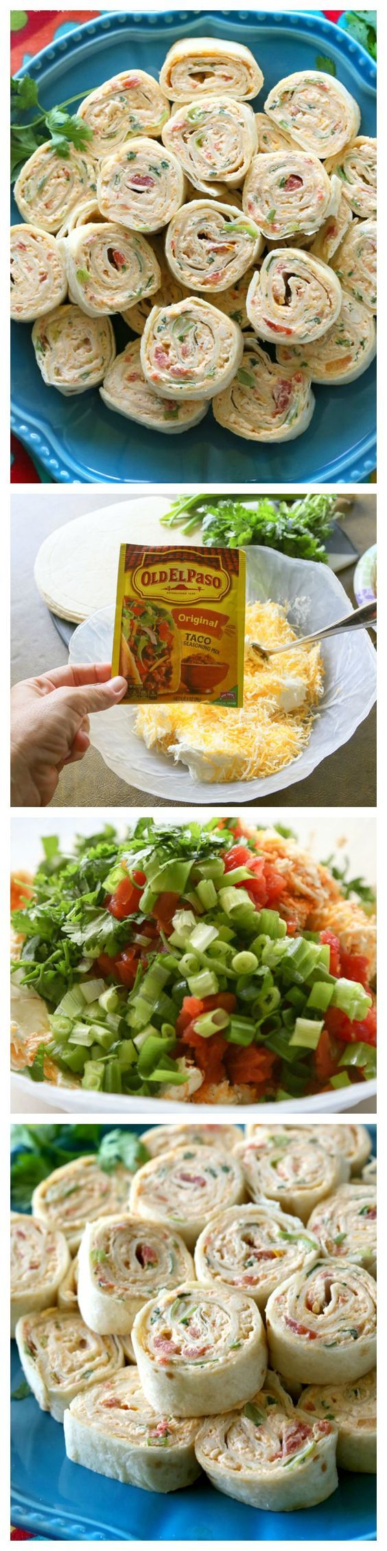 These Chicken Enchilada Roll Ups are a great appetizer for parties! Easy to make ahead and easy to serve. the-girl-who-ate-everything.com: