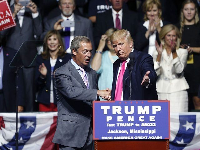 Republican presidential candidate Donald Trump welcomes Nigel Farage, ex-leader of the British UKIP party, to speak at a campaign rally in Jackson, Miss., Wednesday, Aug. 24, 2016. (AP Photo/Gerald Herbert)