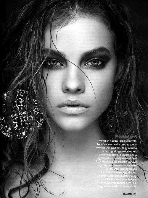 Beautiful black and whiteModels, Wet Hair, Dramatic Eye, Beautiful, Pink Lips, Blue Eye Makeup, Barbara Palvis, Barbarapalvin, Blue Eyeshadow