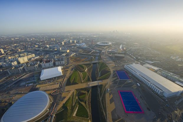 London 2012 Olympic Park aerial photos: the latest pictures by Jason Hawkes | An aerial view of the Olympic Park on 14 January 2012  Picture: JASON HAWKES/BARCROFT