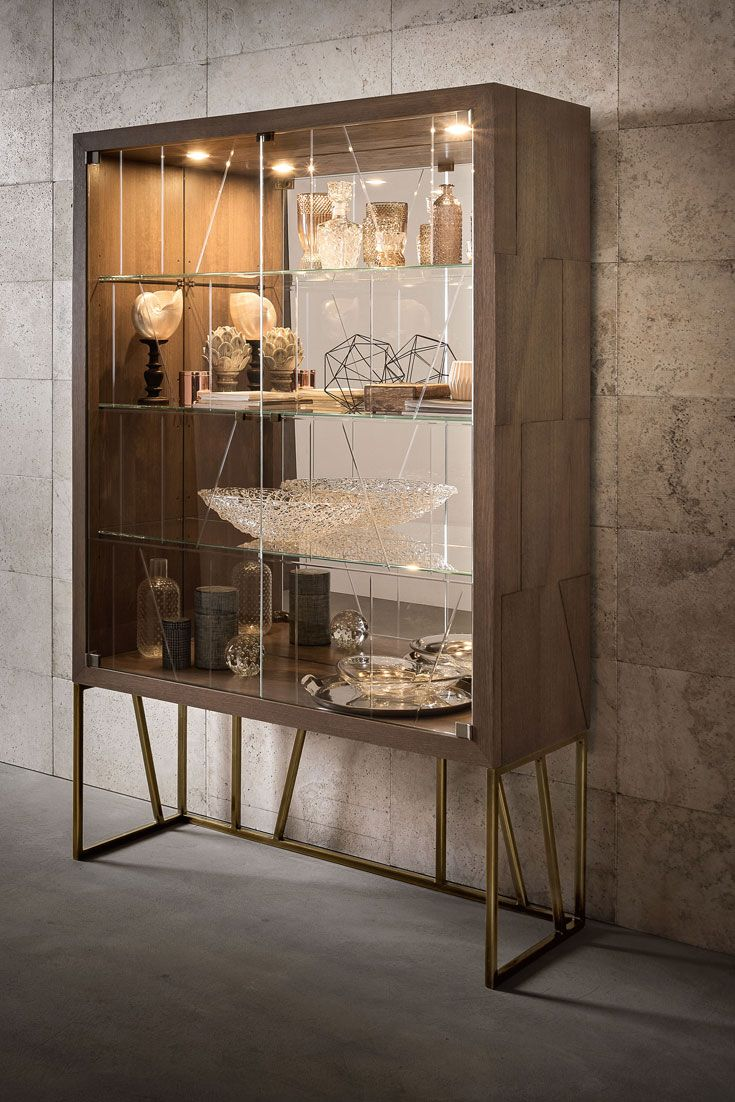 High End Contemporary Oak Brass Display Cabinet Living Room