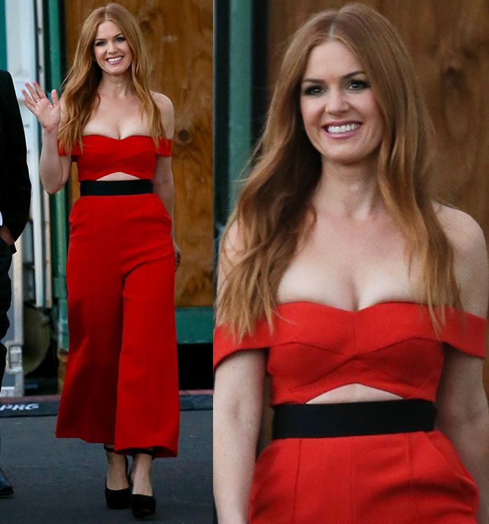 Isla Fisher leaving the ABC studios in Self-Portrait off-the-shoulder jumpsuit