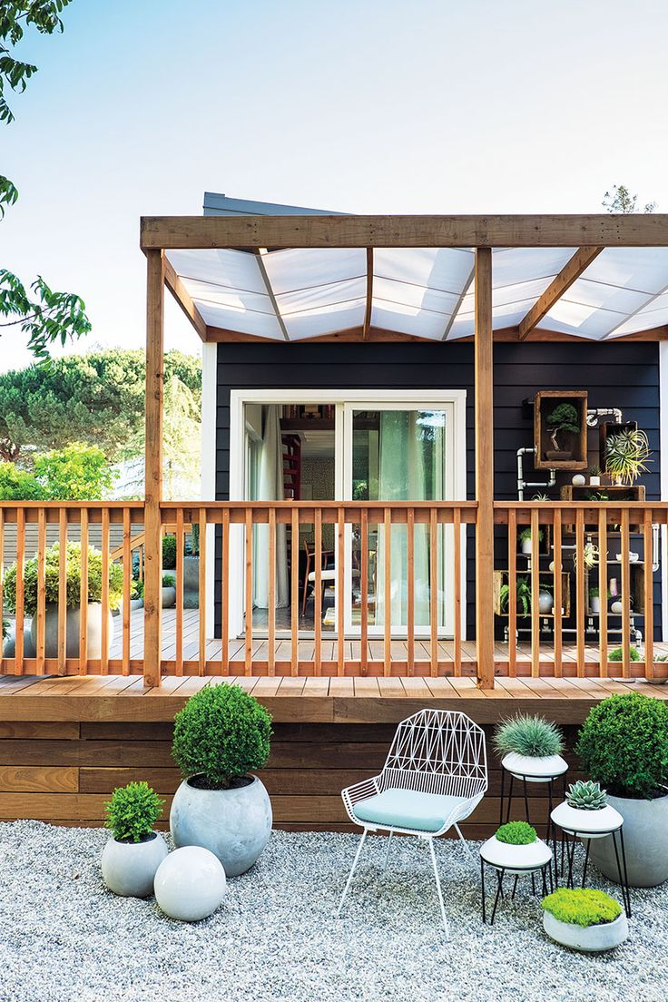 Inspiration for a large modern back porch remodel in san francisco - More Sunset Magazine New Backyard Cottage Photos