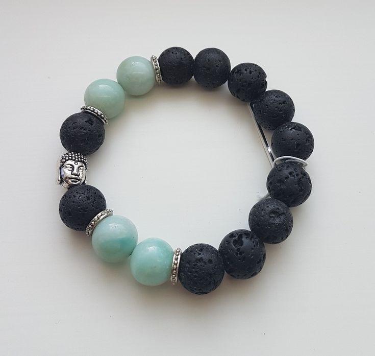 Armband mit Lavasteinen und Amazonit. Kann als Diffusorarmband verwendet werden. – #Ama …   – Vinterhatt