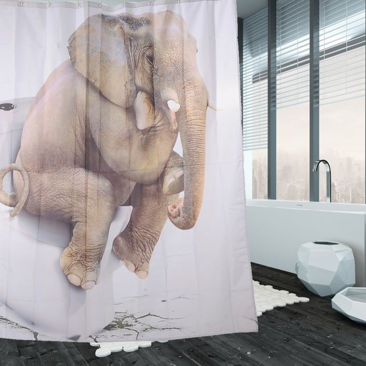 Polyester Waterproof Shower Curtain mildewproof thinker elephant Bathroom Decor Bath Decorations with Hooks picture Printing
