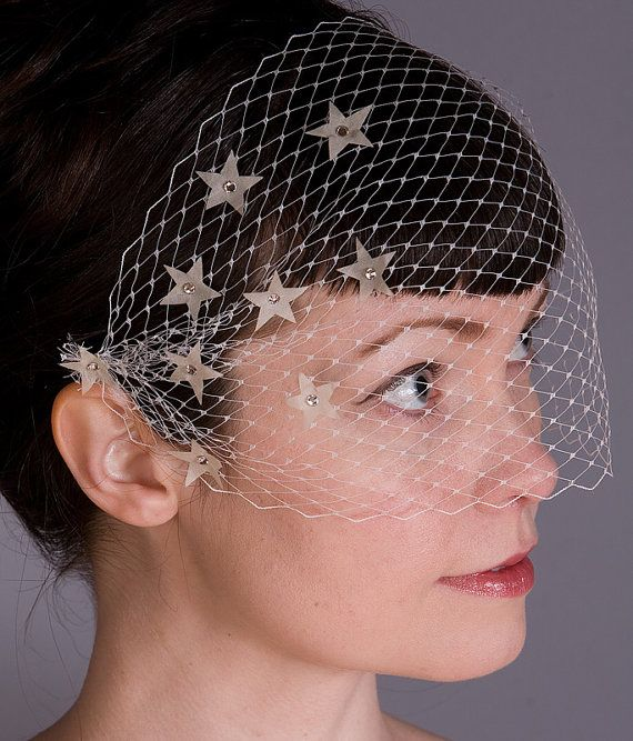 In A Twinkling - Star Studded Bandeau Birdcage (Bird Cage) Veil with Stars - Vintage Inspired Wedding Veil