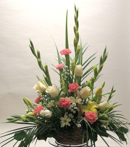 carnation and gladiolus floral arrangements | Basket / Container Arrange : Long-lasting Flower Arrangement for ...
