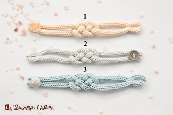 "French knitted cotton bracelet - ""rising sun"""