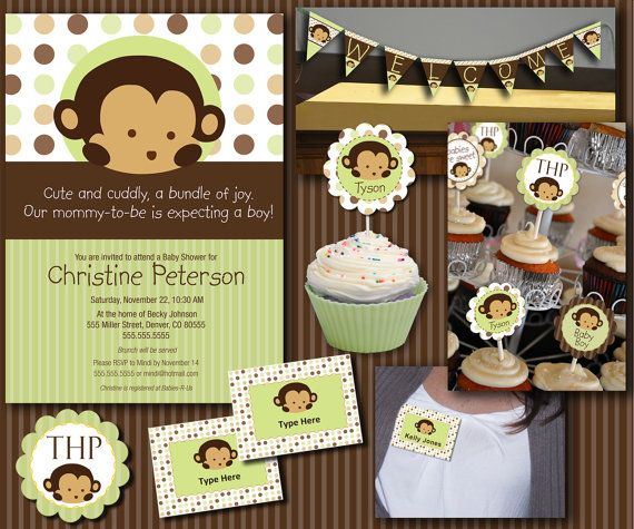 monkey baby shower essentials printables collection monkey baby