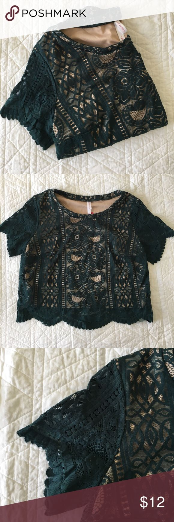 """Emerald Green Lace Crop Top Beautiful dark green Lace crop top with """"nude"""" (nude on me because I'm just tan enough right now to not blind my neighbors anymore. It's more of a peachy color) fabric lining. Top has scallop hem. Purchased to wear with an a-line skirt for a Christmas party and ended up wearing a tacky sweater instead. Xhilaration Tops Crop Tops"""