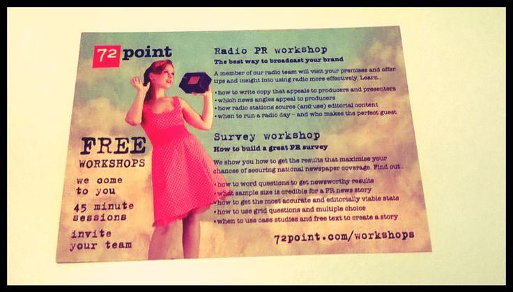 Flyer for Radio PR Workshops. Designed by Drench